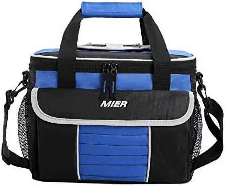 MIER Large Soft Cooler Bag Insulated Lunch Box Bag Picnic Cooler Tote with Dispensing Lid, Multiple Pockets(black and blue)