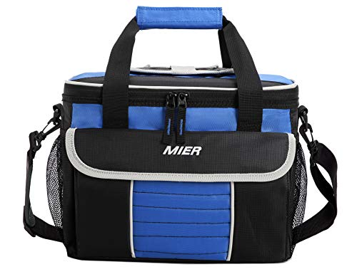 MIER Large Soft Cooler Bag Insulated Lunch Box Bag Picnic Cooler Tote with Dispensing Lid, Multiple Pockets(black and blue) ()
