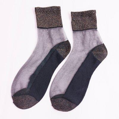 Maivasyy 3 paires de chaussettes FEMME EST Fin de l'été court en soie soie de verre cristal Ultra Léger Chaussettes Mignon, Brun