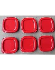 6 couvercles de pots à yaourt carrés rouges pour yaourtière seb 7cm intérieur, 7,5cm extérieur