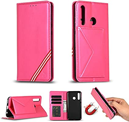 SWMGO® Flip Wallet Case for Huawei Honor 10 Lite (Rose Red