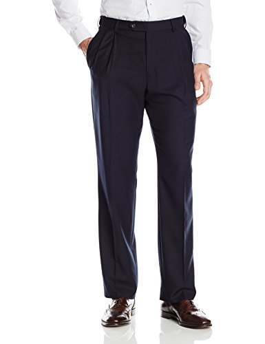 Palm Beach Men's Expander Pleat Dress Pant, Navy, 34W (Black Worsted Wool Suit)