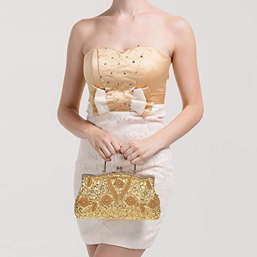 Gold Bag Embroidered Sequined Women's Evening Retro Handmade Evening Beaded Bag qwIzIE