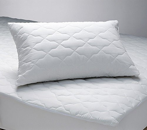 Quilted Zippered Pillow Protector Poly/Cotton, MADE IN USA - 2 PACK (Standard)