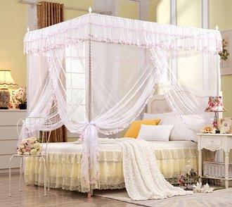 Baldacchino da principessa per letto matrimoniale, bianco , White, King (1