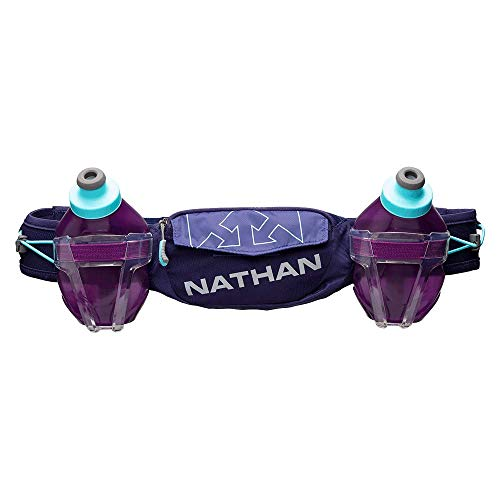 Nathan Hydration Running Belt Trail Mix Plus - Adjustable Running Belt - TrailMix Includes 2 Bottles/Flask - with Storage Pockets. Fits iPhone 6/7/8 Plus and Other 6.5 Inch Smartphones