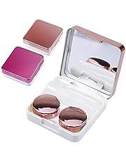 Natuce 2 stuks contactlenzenhouder, beschermhoes voor contactlenzen en geïntegreerde spiegel, contactlenzen, brillenkoker, draagbaar, reiscontactlenzenset voor thuis en op reis (roze en roségoud)