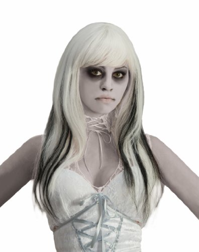 White Lady Ghost Costume (Forum Black Streaked Phantom Wig, White, One)