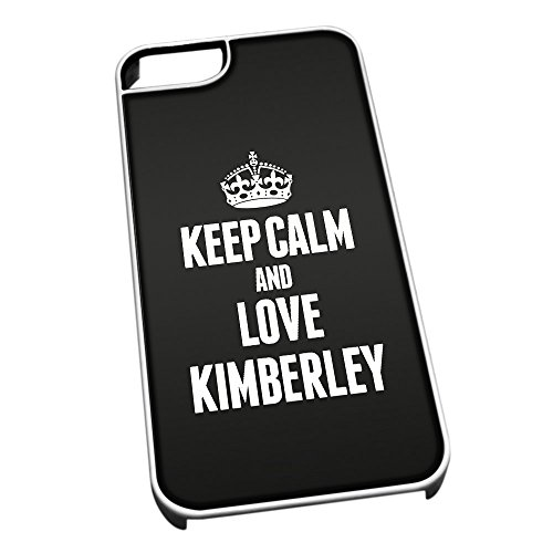 Bianco Cover per iPhone 5/5S 0370 Nero Keep Calm And Love Kimberley