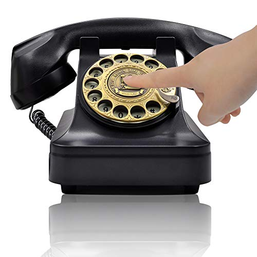 Fashion Reproduction - IRISVO Retro Rotary Landline Phone for Home, Vintage Rotary Dial Phone Old Fashion Telephone Corded Phone with Hands Free Function(Retro Black)