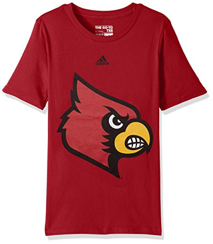 NCAA Louisville Cardinals Youth Boys Huge Preferred Logo Short Sleeve Tee, L(14-16), Dark Red