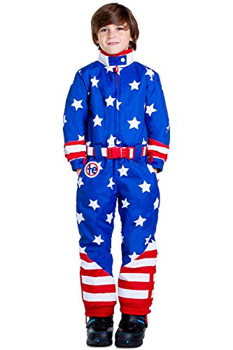 (Tipsy Elves Children's American Flag Ski Suit - USA Stars and Stripes Ski Suit for Kids: M)