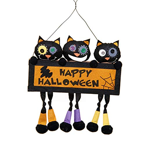Fivtyily Creative Halloween Hanging Sign Door Wall Decorations Party Ghost Festival Home Outdoor Ornaments (Black)