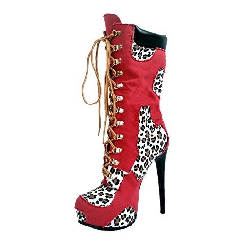 Stilett MERUMOTE Rot Ankle Plattform Schnüren Stiefeletten Schuhe Stiefel Damen nR8xww