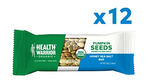 Health Warrior Pumpkin Seed Protein Bars, Honey Sea Salt, 8g Plant Protein, Gluten Free, Certified Organic, 12 Count (Best Sea Salt For Your Health)