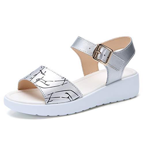 ZHOUZJ Summer White Women Sandals Woman Leather Casual Print Flat Platform Wedges Sandals Ladies ()