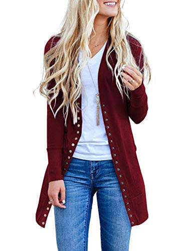 Cardigan Long Three Button (Dokotoo Womens Plus Size Fashion Autumn Cardigans Long Sleeve Snap Ribbed Solid Open Front Sweater Knitting Chunky Long Cardigans Outerwear Wine XX-Large)