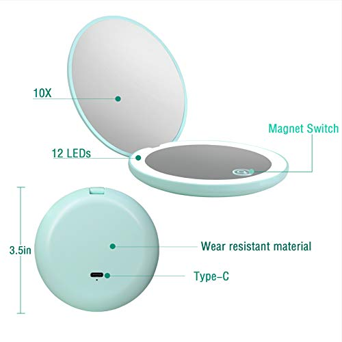 Rechargeable Compact Mirror with Light,1x/10x Magnification,3.5 inch Dimmable Lighted Travel Makeup Mirror,LED Compact Mirror for Purses,Pocket,Touch Switch,Type-c Charging,Daylight,Portable,Handheld