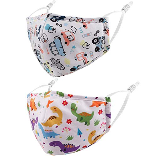 Reusable Kids Cloth Face Masks White car Dinosaur Funny Designer Breathable Cute Washable Adjustable Cotton Fabric Childrens Toddler Teen Youth mascaras para niños, Gift for Boys Girls