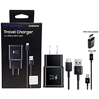 Official Samsung Adaptive Fast Charging Charger - With M3 C to C & A TYPE & Micro USB, For S8,S9,S10,+,Note8,Note9,Note10 (Bundle Kit)