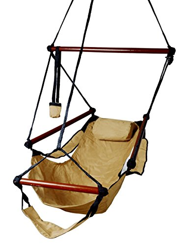 TMS Tan Hanging Rope Hammock Deluxe Chair Air Swing Outdoor Tree Solid Wood 250lbs