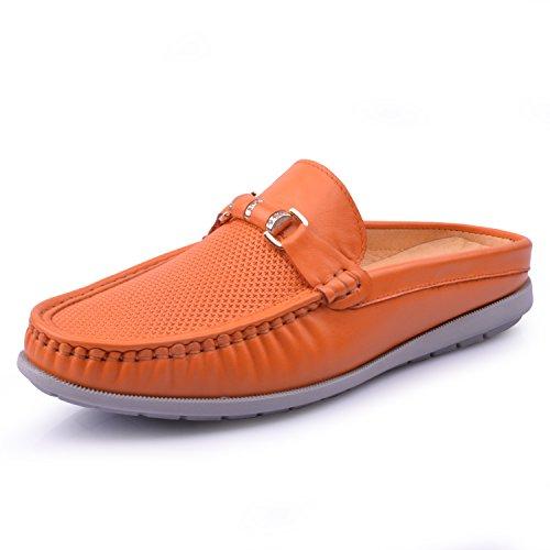 Santimon Mens Läder Backless Tofflor Slip-on Loafters Skor Apelsin