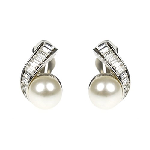 Pearl Earrings as Worn by Barbara Bush Earring Clip Ons Simulated Pearls & Crystals Kenneth Jay Lane