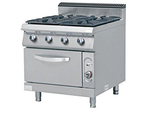 Cucina a gas professionale 4 fuochi con forno linea 700 TECNOFOOD ...