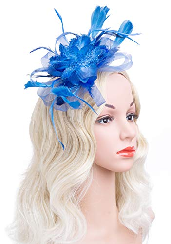 Cizoe Flower Cocktail Tea Party Headwear Feather Fascinators Top Hat for Girls and Women (royal blue)