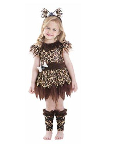 Toddler Girl Cave Girl Leopard Costume Halloween, Toddler (3T-4T) -