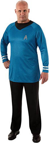 Rubie's Costume Plus-Size Star Trek Into Darkness Deluxe Spock Shirt With Emblem, Blue/Black, Plus (Star Trek Movie Blue Shirt Adult Costume)