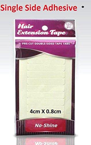 No Shine Single Side Adhesive Hair Extension tape tabs. 4cm X 0.8cm by No-Shine