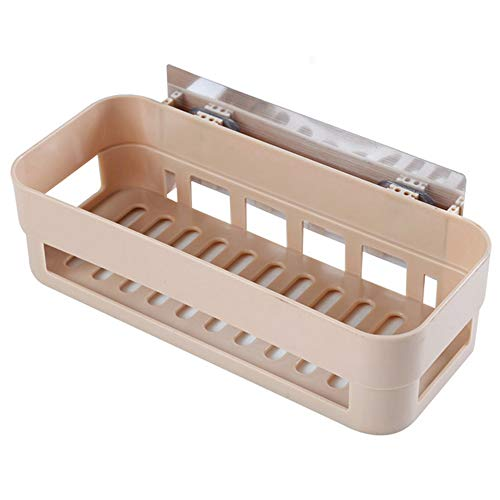 Lrrlpr No Drilling Storage Rectangle Shower Storage Basket Shelf for Bathroom and Kitchen Traceless Adhesives Tape Stickers,Yellow