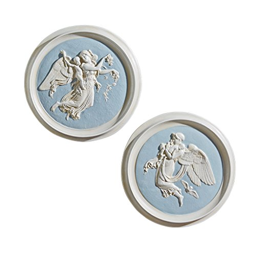 Design Toscano Morning and Night Angel Roundel Wall Plaques (1815) by Artist Bertel Thorvaldsen (1768-1844): Set of Two