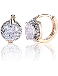 Fashion Jewelry Gold Tone Oval White Crystal Lovely Royal Gorgeous Girl Kid's Hoop Earring