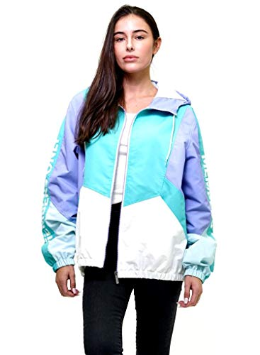 Front Member - Members Only Women's Sports Jacket Slim Fit Zip Front - Teal/Lilic L