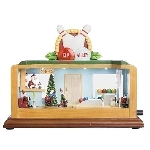 ローマ クリスマステーマ ボーリングアリー 回転式 ELF ミュージカル テーブルトップ 装飾 8.5インチ 2個セット   B07GX4M1TN