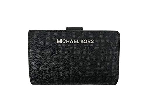 (Michael Kors Jet Set Travel Signature PVC Bifold Zip Coin Wallet in Black)