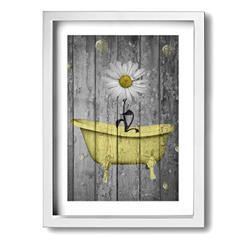 Bubbles Wall Art - Ale-art Daisy Flower Bubbles Yellow Gray Vintage Rustic Frame Bathroom Canvas Art -Modern Gallery Wrapped Contemporary Giclee Canvas Print Wall Art Ready to Hang for Living Room Bedroom Home Decor