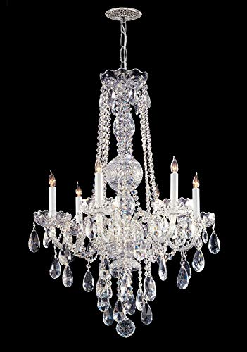 Crystorama 1106-CH-CL-MWP Crystal Six Light Chandelier from Traditional Crystal collection in Chrome, Pol. Nckl.finish, ()