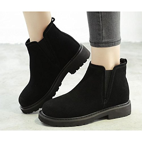 Boots HSXZ Shoes for Flat Spring Cowhide Fashion ZHZNVX Black Booties Fall Boots Ankle Khaki Boots Heel Black Comfort Casual Women's Brown 8wqEg