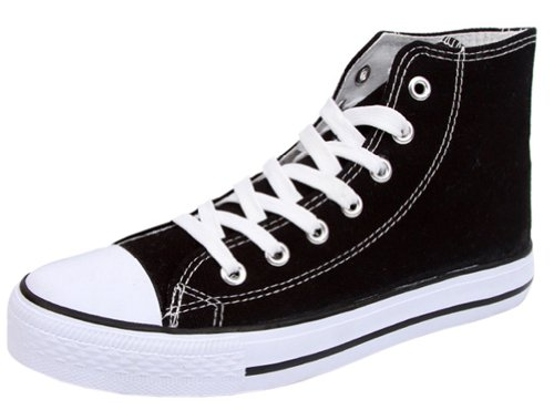 Ace Wome's Flat Sports Canvas Shoes Fashion Sneakers (7, high-top black)