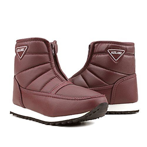 Zipping Snow Boots Red H1035 Leather Boots Ankle Flats Women's PU Shenji qwRP17IW