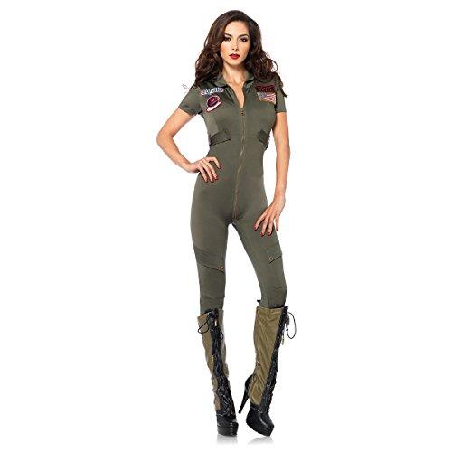 Leg Avenue Women's Top Gun Flight Suit Costume, Khaki, - Top Costumes Female Gun