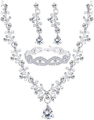 Finrezio Wedding Bridal Jewelry Set Crystal Necklace Earrings Bracelet Sets for Women Gift