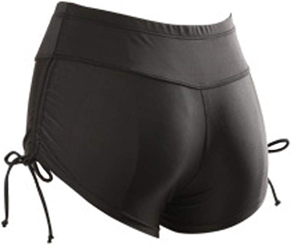 lisenraIn Womens High Waist Swim Shorts Plus Size Side Tie Lined Tankini Bottom Stretch Swimsuit Boyshorts