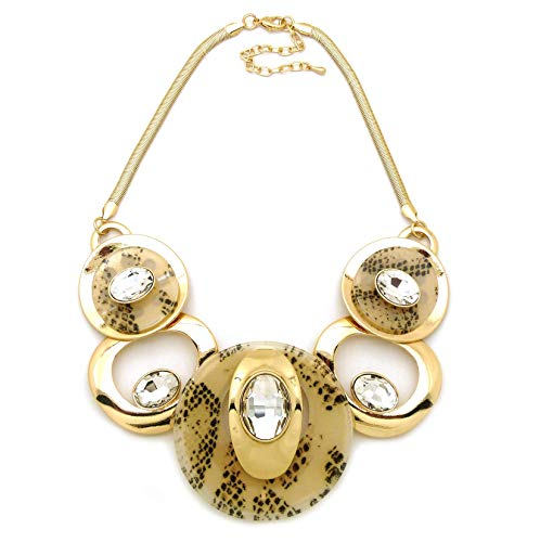 Oval Link Long Necklace - Fashion 21 Women's Celluloid Acetate Oval Disc Glass Stone Metal Link Statement 17