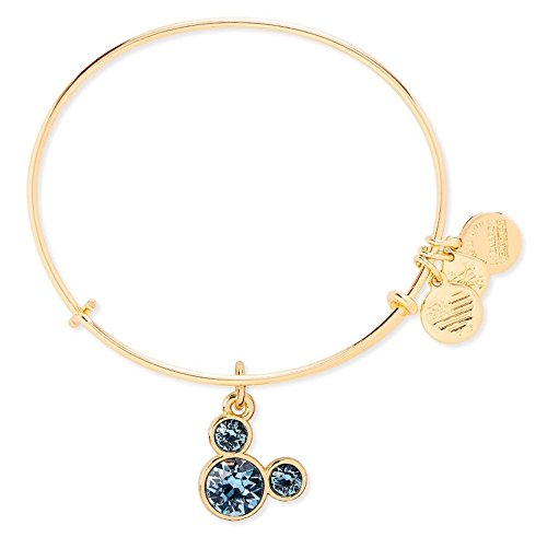 March Birthstone Mickey Mouse Icon Disney Alex & Ani Charm Bracelet (Gold)