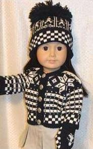 Knit Scandinavian Sweater Winter Outfit Woolens, Hat Mittens Set with Tea Set Doll Clothes Fits American Girl 18