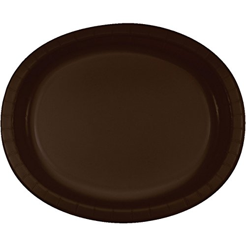 (Creative Converting 8 Count Oval Paper Platters, Chocolate Brown)